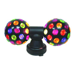 """Lamps Plus - Contemporary Twin Disco Accent Light - Two disco balls are twice as fun! Use this twin disco ball lighting system for added excitement at your next big bash. Two plastic multi-color balls attach to a black plastic base and one 7-watt bulb lights them both up. Takes one 7 watt candelabra bulb (not included). Plastic base. 7"""" high. 12"""" wide.  Plastic base.   Small table lamp size.  Accent lamp small size.  Takes one 7 watt candelabra bulb (not included).   7"""" high.   12""""wide."""