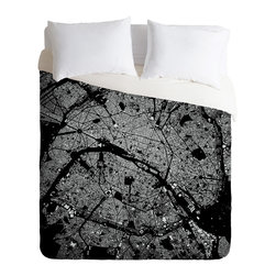 DENY Designs - CityFabric Inc Paris Black Duvet Cover - Turn your basic, boring down comforter into the super stylish focal point of your bedroom. Our Luxe Duvet is made from a heavy-weight luxurious woven polyester with a 50% cotton/50% polyester cream bottom. It also includes a hidden zipper with interior corner ties to secure your comforter. it's comfy, fade-resistant, and custom printed for each and every customer.