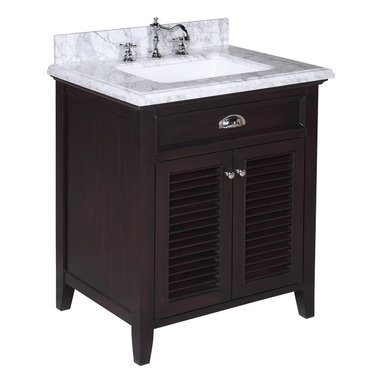 Kitchen Bath Collection - Savannah 30-in Bath Vanity (Carrara/Chocolate) - This bathroom vanity set by Kitchen Bath Collection includes a chocolate colored cabinet with self-closing doors, stunning Carrara marble countertop with double-thick beveled edges,undermount ceramic sink, pop-up drain, and P-trap. Order now and we will include the pictured three-hole faucet and a matching backsplash as a free gift! All vanities come fully assembled by the manufacturer, with countertop & sink pre-installed.