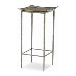 Our Collection - Accent Table - This is where art and furniture meet. A wire mesh top trimmed in brass is on a chiseled metal base.