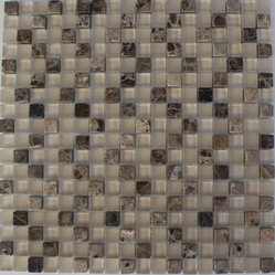 "Sandscape Blend Squares Marble & Glass Tile - SANDSCAPE BLEND SQUARES 1/2"" X 1/2"" GLASS TILE The smooth glass and stone combination creates a beautifully multi-dimensional effect. Great to install in kitchen backsplashes, bathrooms and any decorated spot in your home. The mesh backing not simplifies installation, it also allows the tiles to be separted which adds to their design flexibility. Chip Size: 1/2"" x 1/2"" Color: Dark Emperidor and Beige Cream Material: Stone & Glass Finish: Frosted and Polished Sold by the Sheet - each sheet measures 12"" x 12"" (1sq. ft.) Thickness: 8mm"