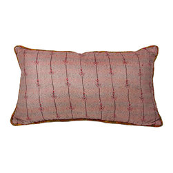 VIntage Kantha Silk Pillows, Cherry Blossom - With elegant prints that are paired with its own piping to make each one unique, the Silk Kantha Pillow has the characteristic running stitch and a canvas back.