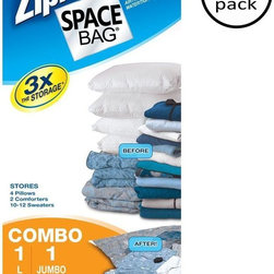 Ziploc - Ziploc Storage & Organizers Large and Jumbo Space Bag Combo Set (2-Piece) - Shop for Storage & Organization at The Home Depot. Imagine Tripling your storage space at a fraction of the cost of adding extra closets; Protecting your valuable belongings from damage caused by dirt water bugs mildew and odors; Packing more in your suitcase backpack boat or RV and keeping packed items protected; Using your garage attic and basement as storage areas without fear of damage to your belongings. Space Bag products enable you to do all of this and more. Most of the bulk in bulky items (like comforters) is really air. When you remove the air you reduce bulk.