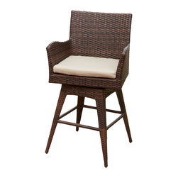 Great Deal Furniture - Royer Outdoor Wicker Brown Swivel Barstool - The Royer Outdoor Wicker Swivel Barstool are the perfect edition to any setting. Combining sturdy construction with a uniquely styled back and wide arms, this stylish chair adds beauty, flair and functionality to your garden or back yard patio. Our wicker is treated, which makes this chair ideal both indoors and out. With this chair, is it easy to create the outdoor setting you have always dreamed of. Made to resist the elements, this chair will be an amazing addition to your home for years to come.