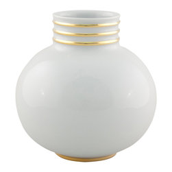 Maison Alma - Arienne Petite Round Vase, White & 24k Gold - You know you like it, and it's already got a ring on it. A small bulb of Limoges porcelain gets extra special sparkle and luxury from hand-applied 24-karat gold or platinum bands. Perfect for yourself or the recently married couple.