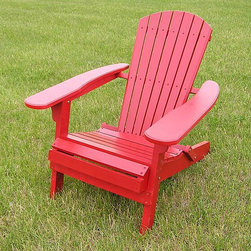 None - Deluxe Red Adirondack Foldable Chair - Create your dream sitting area with this red folding Adirondack chair that is constructed of a white cedar wood for durability. The large arm rests will have you relaxing comfortably and the foldable design will ensure convenient storage.