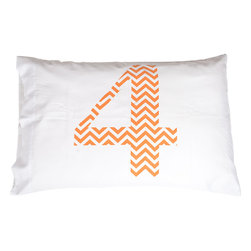 Jules Johnson Interiors - Jules Johnson Interiors Orange Chevron Number 4 Pillowcases, Set of 2 - Everyone has a number, what's yours? Designer Jules Johnson believes that everyone has a number that plays into their everyday life as a computer password, lottery ticket numbers, or other numeric need. Express your number with Jules Johnson Interiors' Orange Chevron Number 4 Pillowcase. With new, unique number pillows released every year, build an ordinal set or just go crazy with lucky #2. New number pillow design every yearSmart, simple design with bold print