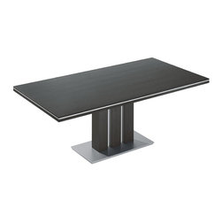 Grand Slam Bacher - Fixed or extendable dining table in various sizes. Tabletop veneered in oak or stained walnut veneer, finished at the edges with at-running aluminum profile. Column veneered in oak or stained walnut veneer, finished. Bottom plate in matt chrome colored paint.