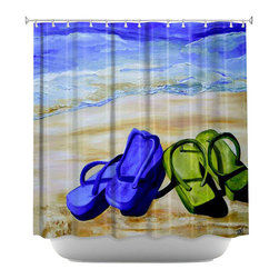 DiaNoche Designs - Shower Curtain Artistic - Naked Feet on the Beach - DiaNoche Designs works with artists from around the world to bring unique, artistic products to decorate all aspects of your home.  Our designer Shower Curtains will be the talk of every guest to visit your bathroom!  Our Shower Curtains have Sewn reinforced holes for curtain rings, Shower Curtain Rings Not Included.  Dye Sublimation printing adheres the ink to the material for long life and durability. Machine Wash upon arrival for maximum softness. Made in USA.  Shower Curtain Rings Not Included.
