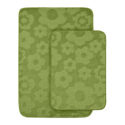 None - Petal Lime Green 2-piece Bath Rug Set - Protect young toes and add comfort and color to a child's or pre-teen's bath with these fun, durable and machine washable bath rugs. The polypropylene fabric is stain-resistant and soft, while the non-skid rubber backing holds rugs in place for safety.