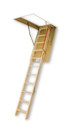 Fakro 10.1 ft. Insulated Wooden Attic Ladder - The Fakro 10.1 ft. Insulated Wooden Attic Ladder is the perfect passageway. This handsome pinewood ladder assembled in three sections so you can easily adjust it within 1.3 inches of your ideal length and is fully insulated with an internal locking mechanism for sturdy reliability. The unique design allows for more steps which mean improved safety for all and the non-slip treads keep feet from sliding off the rungs. Best of all with springs located at the door surface entry to the attic is wider and more comfortable for you! This 54-inch attic ladder is available in a 22-inch 25-inch and 30-inch width model. ANSI certified. About Fakro A privately owned company established in Poland in 1991 FAKRO has grown into one of the most dynamic and fastest growing companies in the world with over a 15% share of the global market and 3 300 employees. Their extensive research and development center produces a wide variety of roof windows with unique design and functionality accessories and the very latest in solar collectors. Their emphasis on health safety security and environmental impact is unmatched. For an expansive range of top-of-the-line products for all imaginable applications look to FAKRO.
