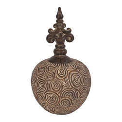 Howard Elliott - Howard Elliott Classic Antique Scrolled Aged Brown Small Vase - Classic Antique Scrolled Aged Brown Small Vase w/ Bronze Fleur Di Lis Top.