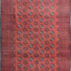 """ALRUG - Handmade Burgundy Oriental Tribal Bokhara Rug 3' 5"""" x 6' (ft) - This Afghan Bokhara design rug is hand-knotted with Wool on Wool."""