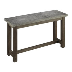 HomeStyles - Concrete Chic Console Table - Add an urban edge to any eclectic decor with the Concrete Chic Console Table by Home Styles. This unique piece is constructed molded concrete over a light weight core with a solid wood base. The top is lightly finished aged metal look and the base has a weathered brown finish. This table's honed beauty and natural intonations create a remarkable accent piece for any room's style. As an additional feature, this collection is suited for outdoor use as well. 48 in. W x 16 in. D x 28 in. H