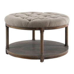 Brownstone Furniture Lorraine Round Upholstered Cocktail Table - Inspired by European classic designs. The Lorraine collection is elegant, timeless and supremely comfortable. Featuring traditional craftsmanship, authentic surfaces, versatile styling, plus fine upholstery in neutral colors.