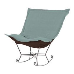 Howard Elliott Sterling Breeze Scroll Puff Rocker - Titanium Frame - The Sterling Puff Chair is a simple yet sophisticated piece. The fabric features a hopsack look with a crisp hand rich color.