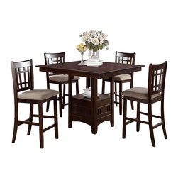 Adarn Inc. - Rosy Brown 5 PC Dining Set Square Table and Seat, Fabric Seat Chair - Beauty, function and form is provided with this counter height dining table with seating for up to four. Covered in a dark rosy brown finish, it features a square shaped table top with a functional built-in Lazy Susan and a lower square shaped storage unit. Match this dining table with counter height chairs in a lovely wood finish, clean lined back supports and cushion upholstered seats OR amazing counter height chairs upholstered in a dark chocolate faux leather cushions with a single panel rectangular shaped back support.