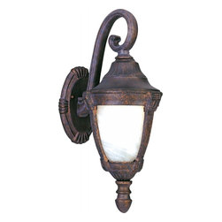 Joshua Marshal - One Light Empire Bronze Marble Glass Wall Lantern - One Light Empire Bronze Marble Glass Wall Lantern