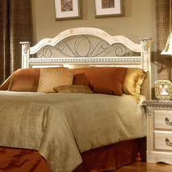 Standard Furniture - European Country Headboard Panel with Scrolle - An iron grill adorns the Full/Queen headboard. Simulated carvings offer texture and richness to the design. Quality wood products bonded together bonded together create durable construction throughout. 63 in. L x 4 in. D x 54 in. H (46 lbs.)Seville offers a warm blend of soft tones and granite color illustrate the European Country style of this collection.