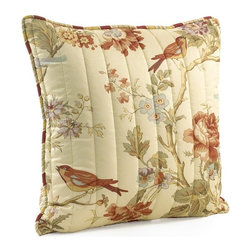 Waverly - Charleston Chirp Quilted 20 in. Square Pillow Multicolor - 11396020X020PPY - Shop for Pillows from Hayneedle.com! Add luxurious color and style to your bed with the Charleston Chirp Quilted 20 in. Square Pillow. This decorative throw pillow features rose branches tulips and dianthus with pretty wrens accented in soft colors of papaya sage green orange rust eggshell blue and lavender on a soothing vanilla background. It's designed to coordinate with the Charleston Chirp bedding collection.About Ellery HomestylesOffering curtains bedding throws and specialty products Ellery Homestyles is a leading supplier of branded and private-label home-fashion products. Their products deliver innovation in fashion function and design and include names like Eclipse Curtainfresh SoundAsleep ComfortTech Vue and Waverly. Their 357 000 square foot facility in Lumber Bridge North Carolina includes a high-speed pillow filling operation with a capacity of approximately 40 000 pillows a week.