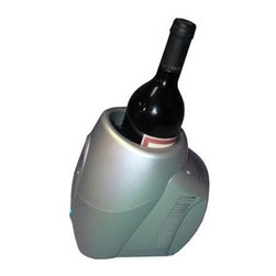 Vinotemp - Single Bottle Wine Chiller - CPU controlled constant temperatures. Fast cooling or warming. 10 temperature selections with easy to read LED indicator lights. Insulated sleeve to help speed the chilling and maintain temperature. Great for white wines, red wines, sake, cider and more. Quickly chill as low as 37 degrees with ease. AC/DC power supply. Fits one 3.5 in. Dia. bottle. 8.23 in. L x 6.02 in. W x 8.43 in. H (2.5 lbs.). Warranty
