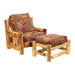 Fireside Lodge Furniture - Cedar Log Futon Chair w Ottoman (New Stripe) - Fabric: New StripeCedar Collection. Includes chair, ottoman and standard with cotton mattress. Smooth movement on spring metal hinges. Standard backrest vertical tenoned logs. Northern White Cedar logs are hand peeled to accentuate their natural character and beauty. Clear coat catalyzed lacquer finish for extra durability. Chair and ottoman together open to single bed. 2-Year limited warranty. Chair: 38 in. W x 40 in. D x 35 in. H. Ottoman: 35 in. L x 26 in. W x 21 in. H