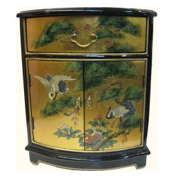 "n/a - Oriental End Table Painted Cranes And Gold Leaf. - Distinguished Oriental end table in solid Philippine mahogany. Includes glass top and luxurious felt lined drawer (Inside Drawer 15W X  12D X 3.5H). Meticulously hand painted Japanese cranes and pine trees art and finished in glistening black and rich gold leaf on top sides and front. Fine brass hardware completes this unique piece. Add a touch of Asian warmth and nobility to your living room or bedroom. Dimensions: 20"" wide by 16"" deep by 24"" tall, Inside Cab.Dimensions, 16.5W X 14D X 12H"