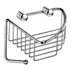 Smedbo - Sideline Corner Soap Basket in Polished Chrome Finish - Concealed fastening. Produced in Solid Brass it will never rust. 6.5 in. W x 6.5 in. D x 5 in. H