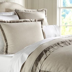 Linen with Silk Trim Duvet Cover, King/Cal. King, Brownstone - Made of a refined linen blend with a silky flange, our bedding is equal parts luxurious and casual. Made of a linen/cotton blend. Duvet cover and sham reverse to cotton satin. Duvet cover has interior ties and a button closure; sham has an envelope closure. Duvet cover, sham and insert sold separately. Machine wash. Imported.