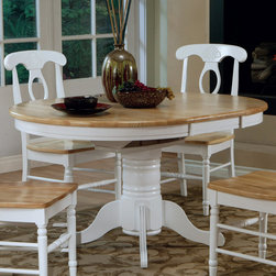 Coaster - Dining Table in Natural/ White - 42dia. natural and white dining table with empire base and 15 center leaf, expandable to 42x57.