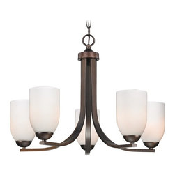 Design Classics Lighting - Modern Bronze Chandelier with Opal White Glass and Five Lights - 584-220 GL1024D - Chandelier in Neuvelle bronze with shiny opal white dome glass shades. Takes (5) 100-watt incandescent A19 bulb(s). Bulb(s) sold separately. UL listed. Dry location rated.