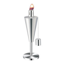 Anywhere Fireplace - Tabletop Stainless Steel Garden Torch, Cone - Add some style and uniqueness to your BBQs and outdoor seating areas while repelling those annoying and biting mosquitoes and insects with the Anywhere Table Top Garden Torch. These modern design torches come in 2 styles, cylinder and cone shape, and have matching 65″ tall stake versions as well. One or more can be placed on any flat surface to radiate glorious light and repel insects to insure your outdoor time is most enjoyable. Both models have clean sophisticated lines in a stainless steel finish that will enhance any outdoor atmosphere whether it's a barbecue, outdoor games, or any evening gathering around the patio, deck, yard or pool. The Anywhere Garden Torches™ use citronella or lamp fuel and comes with a snuffer cap for safe and easy extinguishing. A funnel is recommended for use when filling the fuel. Wipe any spills or drips off stainless steel before lighting. Never try to refill torch while burning or top is still hot.