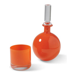 Kathy Kuo Home - Vistula Global Bazaar Clementine Carafe and Glass - Exotic and elegant on a nightstand or bar, this stylish set includes an opaque orange carafe with crystal stopper and coordinating small drinking glass. With hand blown, cased glass from Poland these pretty pieces add a pop of Global Bazaar to any décor.