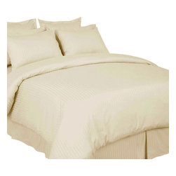 SCALA - 1000Tc Stripe Ivory Color King Size 3Pc Duvet Set - 100% Egyptian Cotton - We offer supreme quality Egyptian Cotton bed linens with exclusive Italian Finishing. These soft, smooth and silky high quality and durable bed linens come to you at a very low price as these come directly from the manufacturer. We offer Italian finish on Egyptian cotton, which makes this product truly exclusive, and owner's pride. It's an experience and without it you are truly missing the luxury and comfort!!