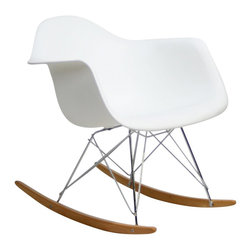 IFN Modern - Eames Rocking Chair - Our Angus Rocking Chair is one of a kind, with a strong fiberglass shell this chair can withstand a lot and provide a great sitting experience for long periods at a time. â— Available in a variety of colorsâ— Frame is constructed of grade 304 steel for stronger support and durable chip resistanceâ— Durable fiberglass seatâ— Chrome R-wire baseâ— Maple runners for smooth rocking