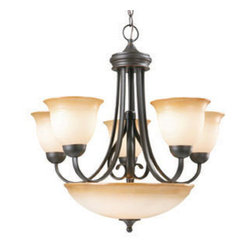 DHI-Corp - Cameron 6-Light Chandelier, Oil Rubbed Bronze - The Design House 512624 Cameron 6-Light Chandelier is made of formed steel, antique glass and finished in oil rubbed bronze. This 6-light chandelier is rated for 120-volts and uses (7) 60-watt medium base incandescent bulbs. This chandelier's sprawling arms meet (6) upward facing lamps gently diffusing light from above. Measuring 25.75-inches (H) by 26-inches (W), this 19.82-pound fixture comes with a 48-inch chain to extend from high ceilings. Graceful scrolled arms accentuate the antique glass to create an elegant accent in a kitchen, dining room or hallway. This product is UL and cUL listed and suited for damp areas. The Cameron collection features a beautiful matching pendant, vanity light, wall sconce and ceiling mount. The Design House 512624 Cameron 6-Light Chandelier comes with a 10-year limited warranty that protects against defects in materials and workmanship. Design House offers products in multiple home decor Categories including lighting, ceiling fans, hardware and plumbing products. With years of hands-on experience, Design House understands every aspect of the home decor industry, and devotes itself to providing quality products across the home decor spectrum. Providing value to their customers, Design House uses industry leading merchandising solutions and innovative programs. Design House is committed to providing high quality products for your home improvement projects.