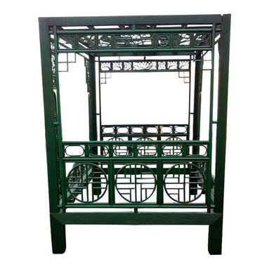 Queen Size Green Rattan & Bamboo Canopy Bed - Dimensions 20.0ʺW × 86.0ʺD × 86.0ʺH