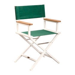 Sutton Bridge - Aluminum Directors Chair in Forest Green - Available in four different colors, this directors chair is comfortable and high quality.  The frame is made of high quality aluminum that will be resistant to breaking and bending.  What's nice is that this aluminum chair can be folded up and brought with you to tailgating events, sports games, and more! directors chair in aluminum Heavy duty construction for long life and durability. Made of hand-welded aircraft strength aluminum. Stainless steel hardware. Seat covers do not sag and are all-weather. Manufacturer's frame warranty: 15 years. Antimicrobial Wooden Arms resist mildew and mold. Comes in 4 colors: Forest Green, Pacific Blue, Jockey Red & Orange. Seat Height: 18.5 in. . 24 in. W x 18.5 in. D x 34 in. HGet ready to make a blockbuster from the comfort of this well-constructed director's chair. Seat frames are made of high grade aluminum, the wooden arms are coated to protect against mildew, and the chair is kept together by stainless steel hardware. To top it all off, the manufacturer provides a 15-year warranty on the frame. Custom embroidery available for an additional fee.