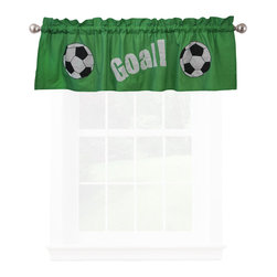 Pem America - Soccer Valance - The beautiful game on a background of bright greens for boys or girls.  All the actions and all the beauty of soccer in this 100% cotton faced quilt with embroidered highlights.  The quilt pattern is a large soccer pitch in greens with embroidered and appliqued players. 1 Valance, 18 inches tall by 70 inches wide with 3 inch rod pocket. 100% cotton face cloth. Machine washable.