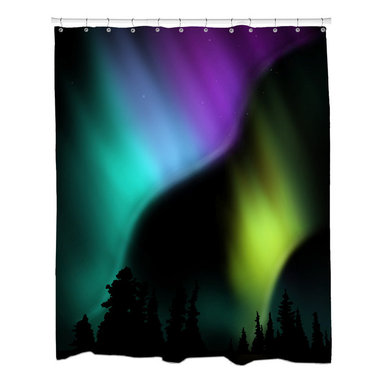Sharp Shirter - Sharp Shirter Aurora Shower Curtain - This curtain is printed in USA!. Hooks sold separately. Disclaimer: If you order multiple items, they may ship from separate locations.