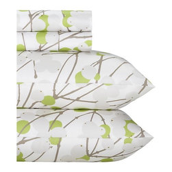 Marimekko Lumimarja Celery Sheet Set - Freshen up your linens with the modern, vibrant colors of celery and white. The pattern is delicate yet bold and fun. This is an instant seasonal update that is sure to lift your mood every time you slip in between the sheets. You just may find yourself leaving them on your bed all year-round.