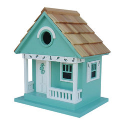 Home Bazaar - Sea Horse Cottage Birdhouse, Aqua - Everybody dreams of a beach house — perhaps even chickadees, nuthatches, wrens and titmice. Welcome feathered friends to your backyard, even if you're miles from the ocean, with this super-cute seahorse-themed cottage.