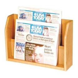 Wooden Mallet - Countertop Divided Newspaper Rack in Oak w Ac - Finish: Light OakMake sure the newspapers you display are on view over the fold with this stylish wood countertop display unit. The piece has an acrylic front, allowing the headlines designed to catch customers' eyes to be easily seen. The divided rack is perfect for counters and tables and is constructed of oak. Perfect for tables and countertops. Clear acrylic front keeps literature in full view. Furniture quality construction with solid oak sides sealed in a durable state-of-the-art finish. Pictured in Light Oak . No assembly required. 4.75 in. D x 17.75 in. W x 12.5 in. H (10 lbs.). 1-Year warrantyWooden Mallet's Oak and acrylic countertop racks add warmth to any room while displaying your magazines and literature.