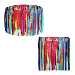 DiaNoche Designs - Ottoman Foot Stool by Jackie Phillips - Neon Abstract - Lightweight, artistic, bean bag style Ottomans. You now have a unique place to rest your legs or tush after a long day, on this firm, artistic furtniture!  Artist print on all sides. Dye Sublimation printing adheres the ink to the material for long life and durability.  Machine Washable on cold.  Product may vary slightly from image.