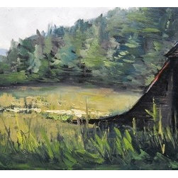 Blue Ridge Barn by Carol Schiff (Original) by Carol Schiff - I spend summer months in the Blue Ridge Mountains.  Many days I drive the rural roads and photograph barns and farms to use as reference material for painting.  I often find scenes such as this in the valleys of Tennessee and North Carolina.
