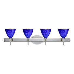 Besa Lighting - Besa Lighting 4SW-177986 Mia 4 Light Reversible Halogen Bathroom Vanity Light - Mia has a classical bell shape that complements aesthetic, while also built for optimal illumination. Our Blue Cloud glass is full of floating, splashes of blue tones over white that almost feels like a watercolor painting. This combination of color is crisp and timeless. This decor is created by rolling molten glass in small bits of blue hues called frit. The result is a multi-layered blown glass, where frit color is nestled between an opal inner layer and a clear glossy outer layer. The handcrafted touch of a skilled artisan, utilizing century-old techniques passed down from generation to generation, creates variations in color and design that are to be appreciated. The vanity fixture is equipped with decorative lamp holders, removable finials, linear rectangular housing, and a removable low profile oval canopy cover.Features: