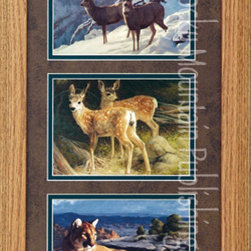 Rocky Mountain Publishing - Canyon Compadres, Greg Beecham Wildlife Art Framed Set 10x20 - An  addition  to  your  wildlife  art  collection,  Canyon  Compradres  is  a  triple  print  set  that  combines  three  renditions  of  Greg  Beecham's  stunning  paintings  all  in  one  frame.  Set  among  the  winter  landscapes,  two  buck  in  a  winter  scene,  fawns  in  early  spring  with  all  their  spots,  and  the  majesty  of  a  cougar  as  he  surveys  his  surrounding  from  atop  of  the  world.  Combining  beautiful  landscapes  in  the  background  with  the  focus  of  the  wildlife  create  a  great  art  piece  for  display.                  Dimensions:  Glass  and  Matting  measure  10x20  inches;  Exterior  Frame  dimensions  approximately  16x26  inches              Handsomely  matted  and  framed              Hardware  for  hanging  is  pre-installed              Treated  with  a  protective  coat  of  acid-free  sealant              Artist:  Greg  Beecham;  Allow  2  weeks  for  shipping