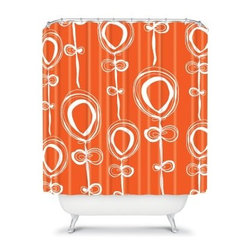 DENY Designs Rachael Taylor Contemporary Orange Shower Curtain - If you're bored with your sterile bathroom decor, the DENY Designs Rachael Taylor Contemporary Orange Shower Curtain is just what you need. With an eye-popping orange designer print, this shower curtain instantly injects life into your bathroom. Made in America, you are going to have to be dragged out of the shower once you hang this curtain.About DENY DesignsDenver, Colorado based DENY Designs is a modern home furnishings company that believes in doing things differently. DENY encourages customers to make a personal statement with personal images or by selecting from the extensive gallery. The coolest part is that each purchase gives the super talented artists part of the proceeds. That allows DENY to support art communities all over the world while also spreading the creative love! Each DENY piece is custom created as it's ordered, instead of being held in a warehouse. A dye printing process is used to ensure colorfastness and durability that make these true heirloom pieces. From custom furniture pieces to textiles, everything made is unique and distinctively DENY.