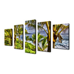 Ready2HangArt - Ready2hangart Chris Doherty 'Overhang' 5-piece Canvas Wall Art - The 'Overhang' 5-piece canvas art set depicts lush island foliage on a luminous day, it's tall palms gracefully elevated with their geometric leaves accentuating the scenery. This 5-piece canvas features a tropical theme and is gallery-wrapped canvas for a contemporary look.