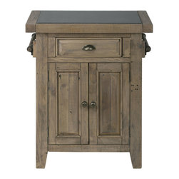 Jofran - Slater Mill Pine Small Kitchen Island With Granite Top - Looking for a way to add a quick kitchen island to your entertainment room arrangement? With this small kitchen server you may have found your solution. This piece features a reclaimed pine wood construction with a beautiful Slater Mill Pine finish that calls out the beauty in natural wood imperfections. Use the granite insert in the cabinet top for serving purposes with handles on the sides for dishtowels and hidden storage inside the piece.